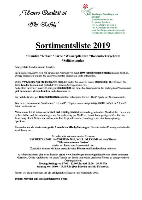 Bamberger Staudengarten Sortimentsliste 2019